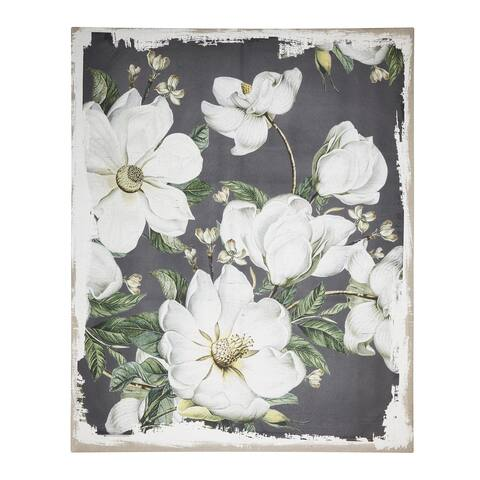 Magnolia Blooms 60-inch White and Gray Canvas Print