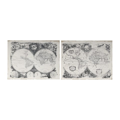 Danica 24-inch Black and White Antique Map Prints (Set of 2)
