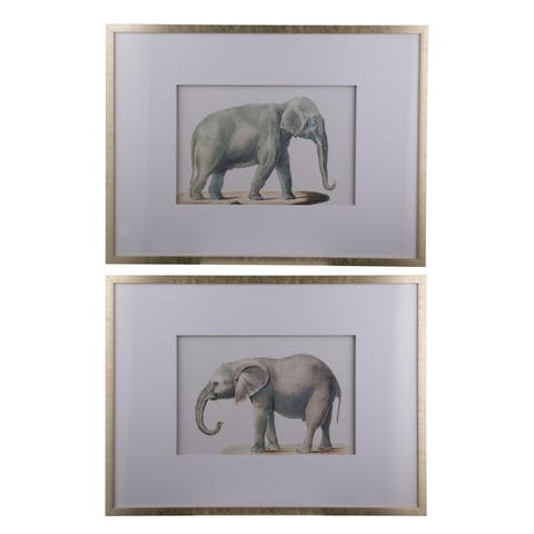 Silver 32-inch Framed Elephant Pencil Drawings (Set of 2)