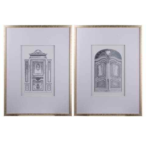 Silver 32-inch Framed Pencil Architectural Art (Set of 2)