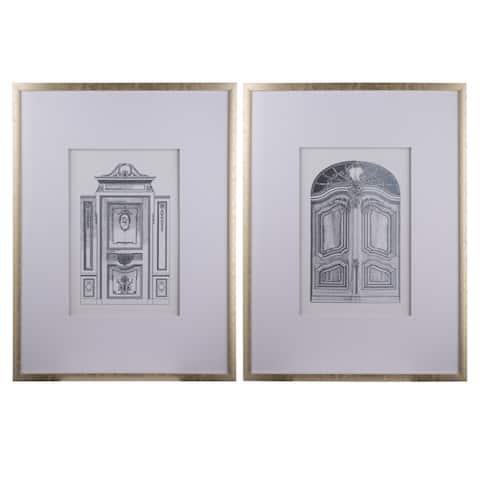 Silver Framed Pencil Architectural Art (Set of 2)