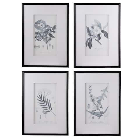 Porch & Den Black 'Botanical Pencil Art' Framed Art Set (Set of 4)