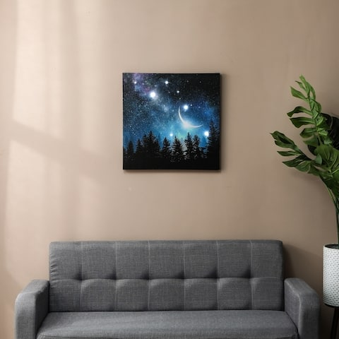 Moon and Night Sky Canvas Print with LED Lights