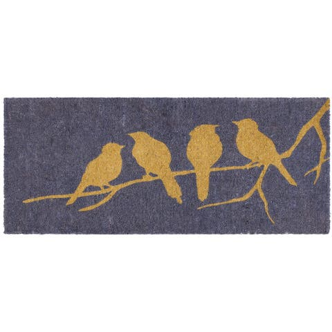 "Handmade Birds on Branch Extra Thick Durable Doormat (India) - 24"" x 57"""