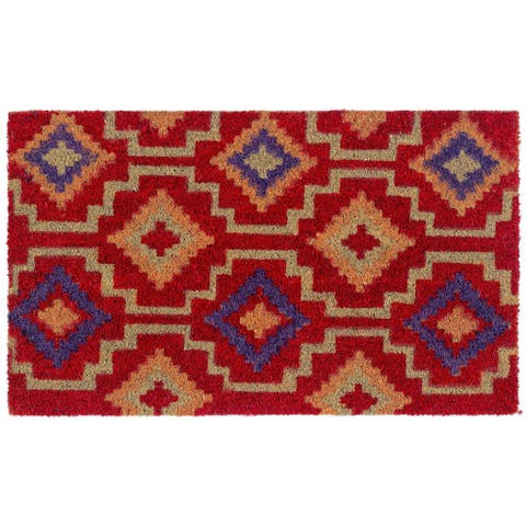 "Handmade Lhasa Kilim Non-Slip Durable Doormat (India) - 18"" x 30"""