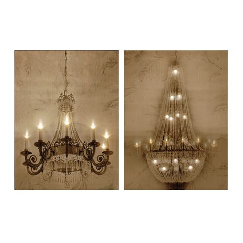 Gold 32-inch Chandelier LED Wall Art (Set of 2)