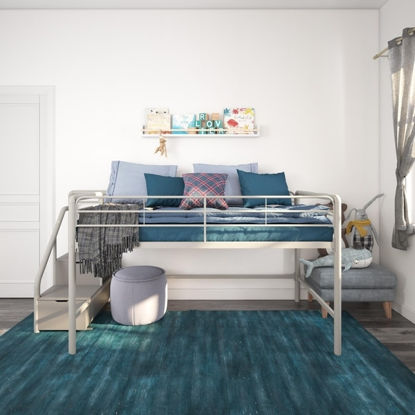 Taylor & Olive Ranunculus Twin Loft Bed with Storage Steps