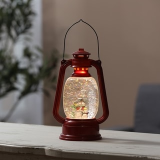 Holiday Snowman in Farmhouse Red LED Lantern
