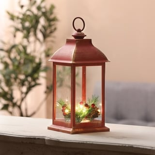 Holiday Berry and Pinecone LED Rustic Red Lantern