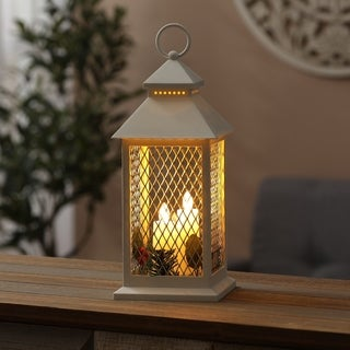 Holiday Berry and Pinecone White Lantern with Three LED Candles
