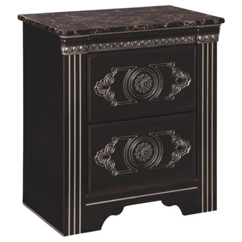 Banalski Dark Brown Traditional Two Drawer Nightstand