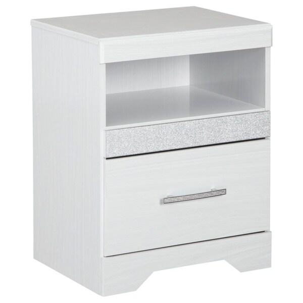 Jallory White One Drawer Nightstand