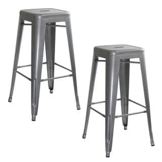 Link to Carbon Loft Scodellaro Silver Metal Bar Stool (Set of 2) Similar Items in Dining Room & Bar Furniture