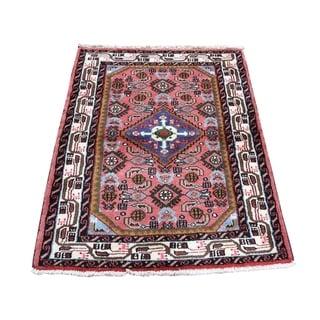 "Shahbanu Rugs Pink New Persian Hamadan Pure Wool Hand-Knotted Oriental Rug  (2'7"" x 3'8"") - 2'7"" x 3'8"""