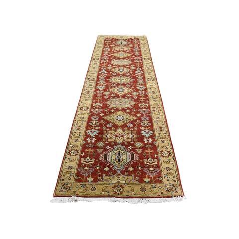 "Shahbanu Rugs Hand-Knotted Runner Karajeh Design Pure Wool Oriental Rug (2'9"" x 9'9"") - 2'9"" x 9'9"""