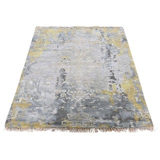 """Shahbanu Rugs Gray Wool And Silk Erased Design Hand-Knotted Oriental Rug (3'1"""" x 4'10"""") - 3'1"""" x 4'10"""""""