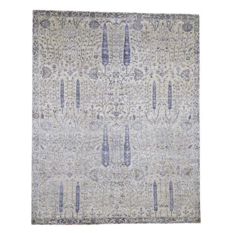 "Shahbanu Rugs Willow and Cypress Tree Design Silk Oxidized Wool Hand-Knotted Rug (8'0"" x 10'0"") - 8'0"" x 10'0"""