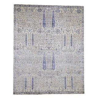 """Shahbanu Rugs Willow And Cypress Tree Design Silk  Oxidized Wool Hand-Knotted Rug (8'0"""" x 10'0"""") - 8'0"""" x 10'0"""""""