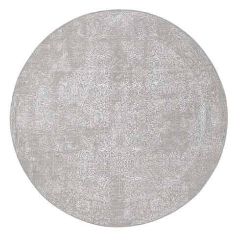 "Shahbanu Rugs Round Tone On Tone Broken Persian Design Hand-Loomed Oriental Rug (7'8"" x 7'8"") - 7'8"" x 7'8"""
