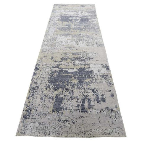 "Shahbanu Rugs Hi-Low Pile Abstract Design Wool and Silk Runner Hand-Knotted Rug (2'8"" x 10'0"") - 2'8"" x 10'0"""