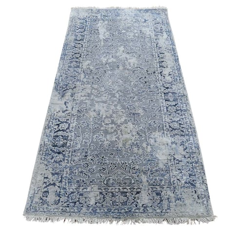 """Shahbanu Rugs Broken Persian Erased Design with Pure Silk Runner Hand-Knotted Rug (2'6"""" x 6'0"""") - 2'6"""" x 6'0"""""""