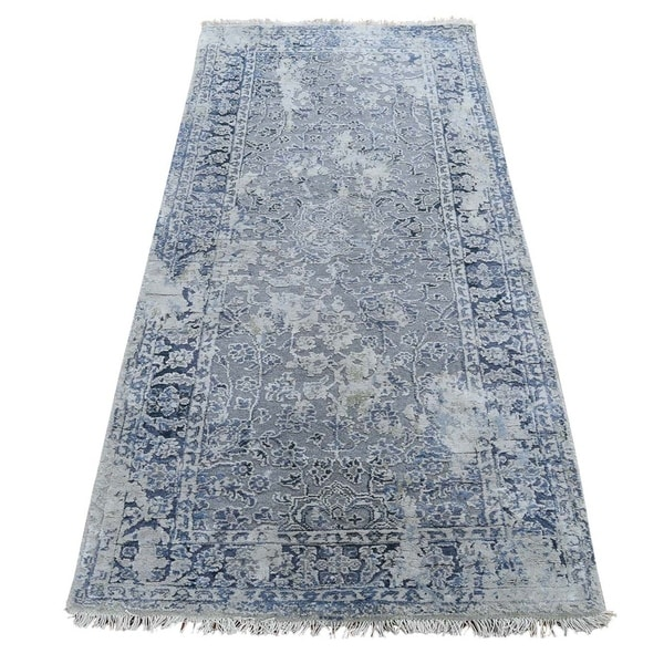"""Shahbanu Rugs Broken Persian Erased Design with Pure Silk Runner Hand-Knotted Rug (2'6"""" x 6'0"""") - 2'6"""" x 6'0"""". Opens flyout."""