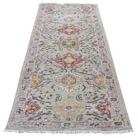 """Shahbanu Rugs THE SUNSET ROSETTES Pure Silk & Wool Runner Hand-Knotted Oriental Rug (2'6"""" x 10'0"""") - 2'6"""" x 10'0"""""""