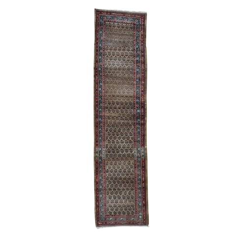 "Shahbanu Rugs Antique Persian Heriz Worn Pile camel Hair Runner Hand-Knotted Rug (3'3"" x 13'0"") - 3'3"" x 13'0"""