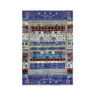 """Shahbanu Rugs Colorful Kashkuli Gabbeh Pictorial Pure Wool Hand-Knotted Oriental Rug (4'0"""" x 6'0"""") - 4'0"""" x 6'0"""""""