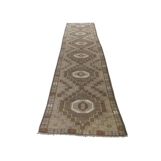 """Shahbanu Rugs Washed Out Afghan Baluch With Natural Colors  Pure Wool Runner Rug (2'7"""" x 13'0"""") - 2'7"""" x 13'0"""""""