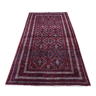 """Shahbanu Rugs Red Vintage Persian Baluch Exc Condition Hand-Knotted Oriental Rug (4'0"""" x 7'6"""") - 4'0"""" x 7'6"""""""