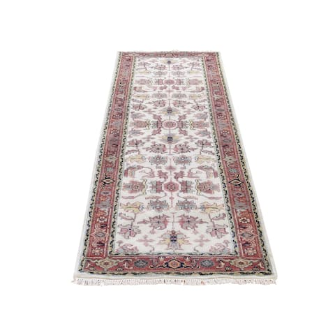 "Shahbanu Rugs Ivory Heriz Revival All Over Design Pure Wool Handmade Runner Rug (2'6"" x 7'9"") - 2'6"" x 7'9"""