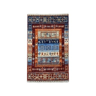 "Shahbanu Rugs Red Kashkuli Gabbeh Pictorial Pure wool Hand-knotted Oriental Rug (2'9"" x 4'0"") - 2'9"" x 4'0"""