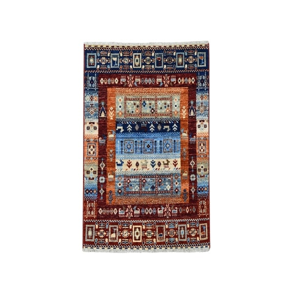 """Shahbanu Rugs Red Kashkuli Gabbeh Pictorial Pure wool Hand-knotted Oriental Rug (2'9"""" x 4'0"""") - 2'9"""" x 4'0"""""""