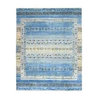 "Shahbanu Rugs Blue Kashkuli Gabbeh Pictorial Pure wool Hand-knotted Oriental Rug (8'0"" x 9'9"") - 8'0"" x 9'9"""