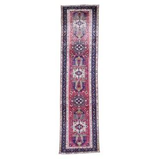 "Shahbanu Rugs Vintage Tabriz Karajeh Design Pure Wool Wide Runner Hand-Knotted Rug (3'5"" x 13'5"") - 3'5"" x 13'5"""