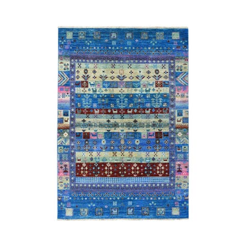 "Shahbanu Rugs Colorful Kashkuli Gabbeh Natural Dyes Pure wool Hand-Knotted Rug (4'0"" x 5'10"") - 4'0"" x 5'10"""
