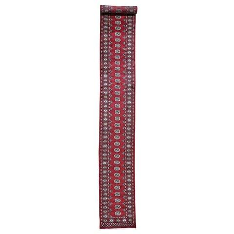 "Shahbanu Rugs Hand-Knotted Mori Bokara Elephant Feet Design XL Runner Pure Wool Rug (2'6"" x 19'7"") - 2'6"" x 19'7"""