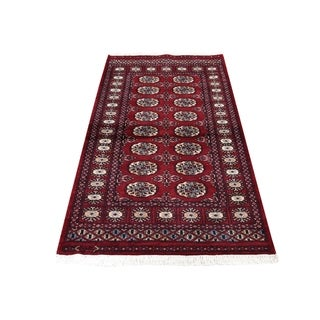 "Shahbanu Rugs Red Bokara Elephant Feet Design Pure Wool Hand-Knotted Oriental Rug (2'7"" x 5'0"") - 2'7"" x 5'0"""