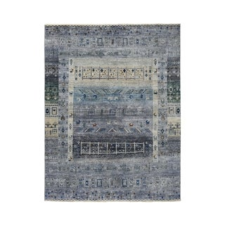 "Shahbanu Rugs Gray Kashkuli Gabbeh Pictorial Pure wool Hand-knotted Oriental Rug (4'10"" x 6'9"") - 4'10"" x 6'9"""