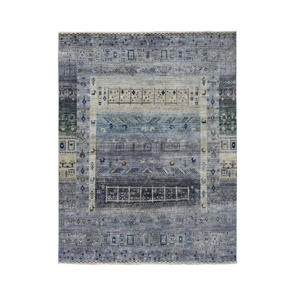 "Shahbanu Rugs Gray Kashkuli Gabbeh Pictorial Pure wool Hand-knotted Oriental Rug (4'10"" x 6'9"") - 4'10"" x 6'9"""