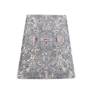 "Shahbanu Rugs Lavender Abstract Design Wool and Silk Handmade Oriental Rug Sample (2'0"" x 3'0"") - 2'0"" x 3'0"""