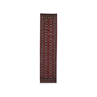 "Shahbanu Rugs Red Super Fine Bokara Elephant Feet Design Hand-Knotted Oriental Rug (2'7"" x 8'0"") - 2'7"" x 8'0"""