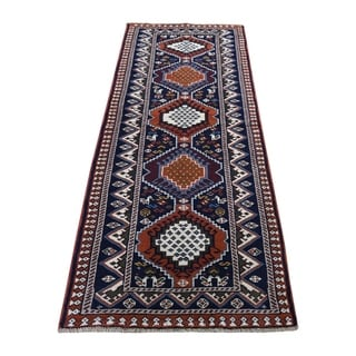"Shahbanu Rugs  New persian Shiraz Pure Wool Narrow Runner Hand-Knotted Oriental Rug (2'1"" x 6'4"") - 2'1"" x 6'4"""
