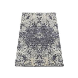 "Shahbanu Rugs Sample Lavender Abstract Design Wool and Silk Handmade Oriental Rug (2'0"" x 3'0"") - 2'0"" x 3'0"""