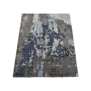 """Shahbanu Rugs Sample Blue Abstract Design Wool and Silk Hand-Knotted Oriental Rug (2'0"""" x 3'0"""") - 2'0"""" x 3'0"""""""