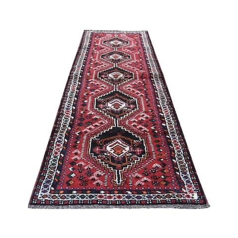 "Shahbanu Rugs New persian Shiraz Pure Wool Narrow Runner Hand-Knotted Oriental Rug (2'7"" x 9'5"") - 2'7"" x 9'5"""