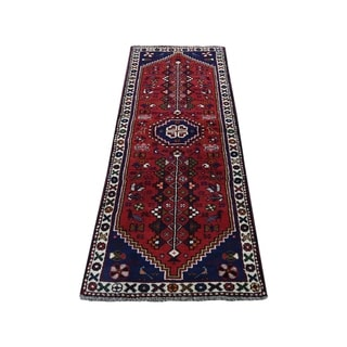 "Shahbanu Rugs Red New persian Shiraz Pure Wool Narrow Runner Hand-Knotted Rug (2'2"" x 6'0"") - 2'2"" x 6'0"""