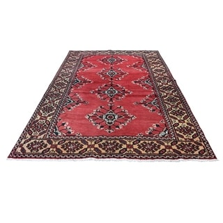 """Shahbanu Rugs Red Vintage Persian Malayer Full Pile Pure Wool Hand-Knotted Rug (4'8"""" x 7'9"""") - 4'8"""" x 7'9"""""""