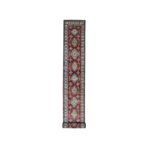 "Shahbanu Rugs Red Super Kazak Pure Wool Geometric Design Hand-Knotted XL Runner Rug (2'8"" x 20'5"") - 2'8"" x 20'5"""